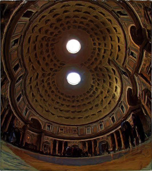 Twin Pantheon.<br /> I tried to combine two shots of the Pantheon in a stitching programme and it came out with this - which might be a good idea for the next pantheon.<br /> Photo painted with smeary oil brush in Corel Painter.