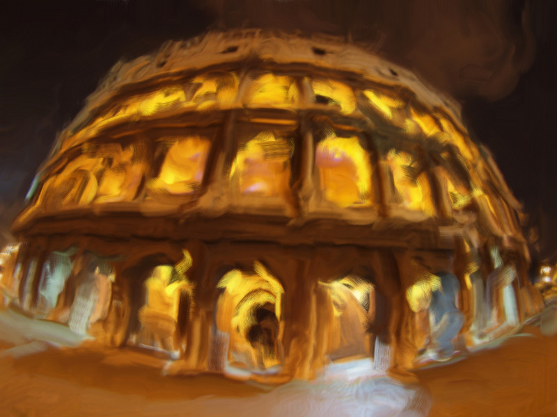 Colosseum on Fire 2<br /> Night Photo manipulated with smeary oil brush in Corell Painter.