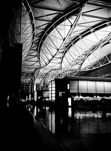 San Francisco International Airport.   This picture was taken at the departure level in the late evening with my little Lumix TZ3 placed on the counter.