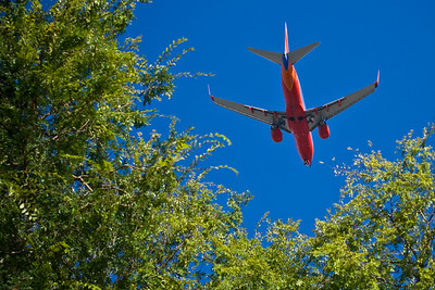 Planes fly quite low over San Jose downtown.