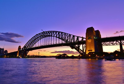 Sydney Harbour Bridge at sunset.
