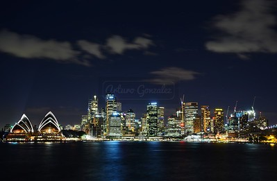 Downtown Sydney at night.