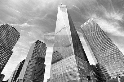 One World Trade Center in B&W.