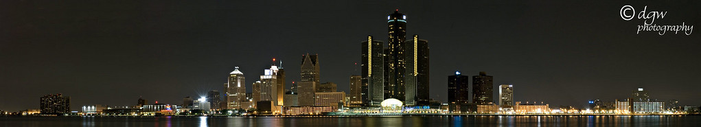 Detroit skyline pano was taken from Canada, 4 photos
