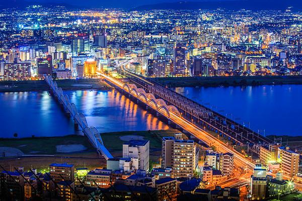 Blue Moment, 6:43 PM Yodogawa River in north Osaka, Japan