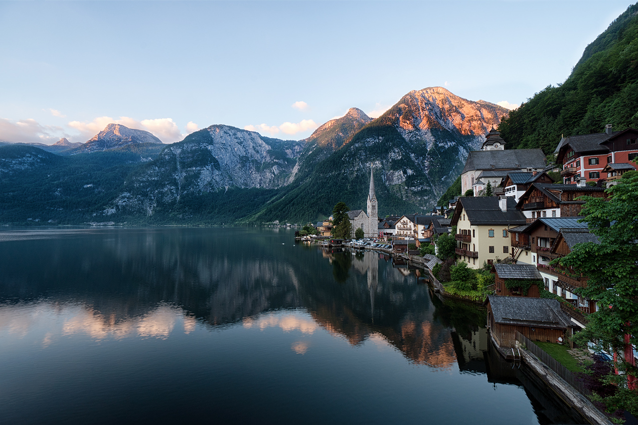 Hallstatt, sunrise, sunset, austria, long exposure, HDR, mountains, lake, church, water, village, houses,