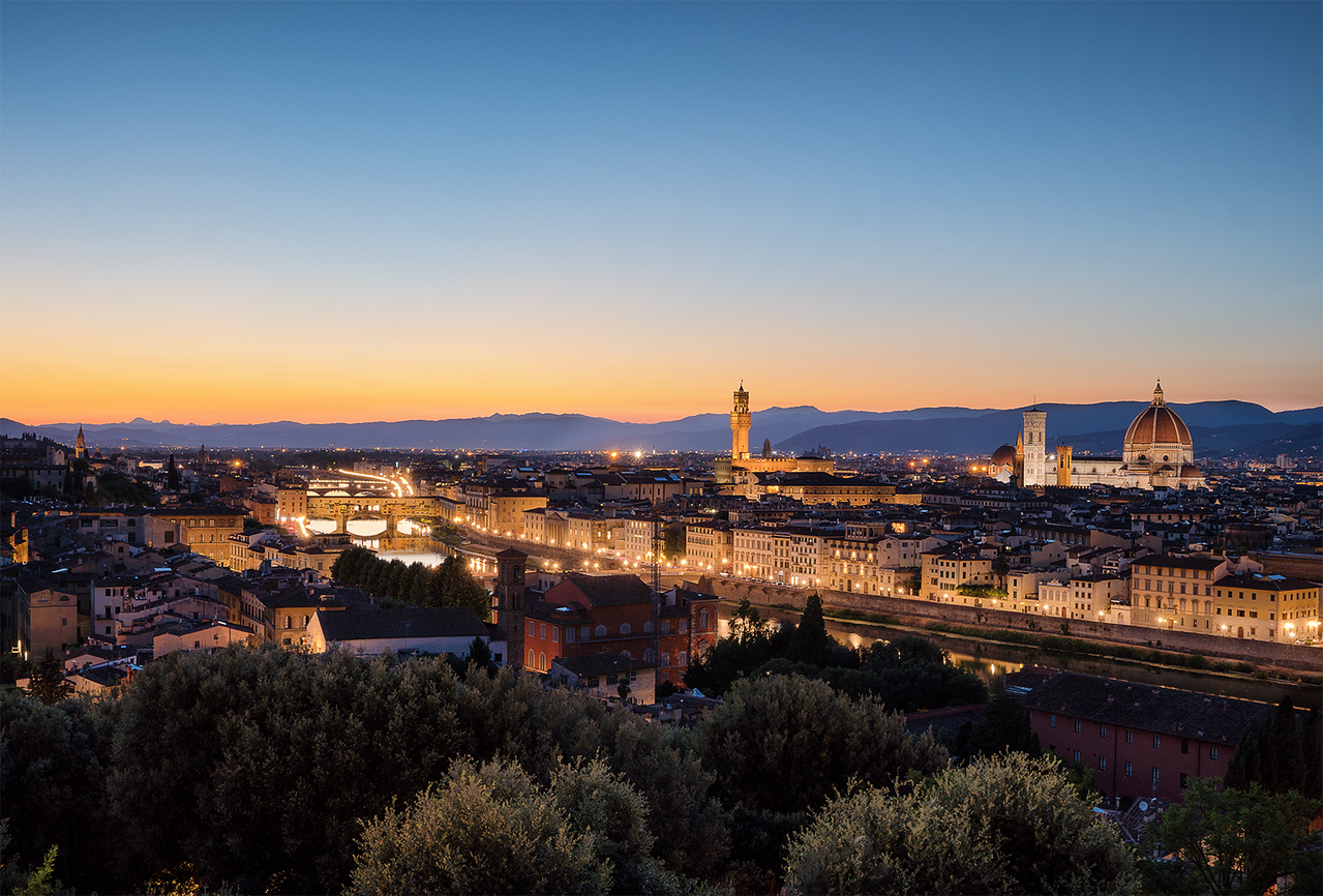 florence, firenze, Piazzale Michelangelo, long exposure, hdr, sunset, city, water, tree, blue hour, sony, sony a6500