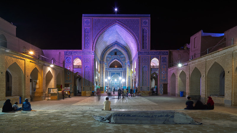 Iran, Yazd - Jame Mosque, just after night prayer