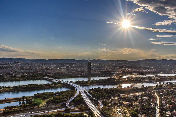 The Millennium Tower & The Shiny Danube River, Vienna, Austria