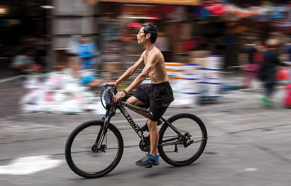 man on a bicycle.