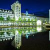 Germany, Leipzig - Evening reflections on Augustusplatz