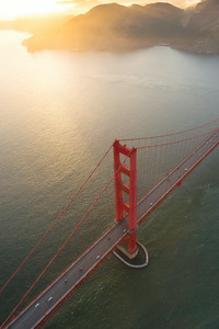 The Golden Gate Bridge as photographed via helicopter in San Francisco, California.