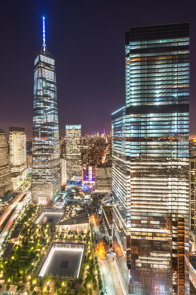 The Freedom Tower and World Trade Center Memorial in New York City.