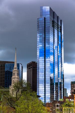 Millennium Tower with Park Street Church, Boston, MA, USA
