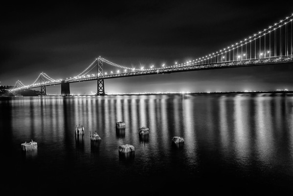 Bay Bridge shot at Midnight in Black and White