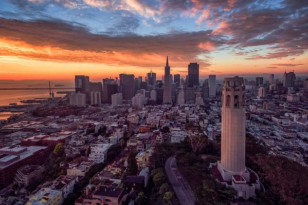 California, Northern California, cityscape, San Francisco, Coit Tower, Sunrise, Areial