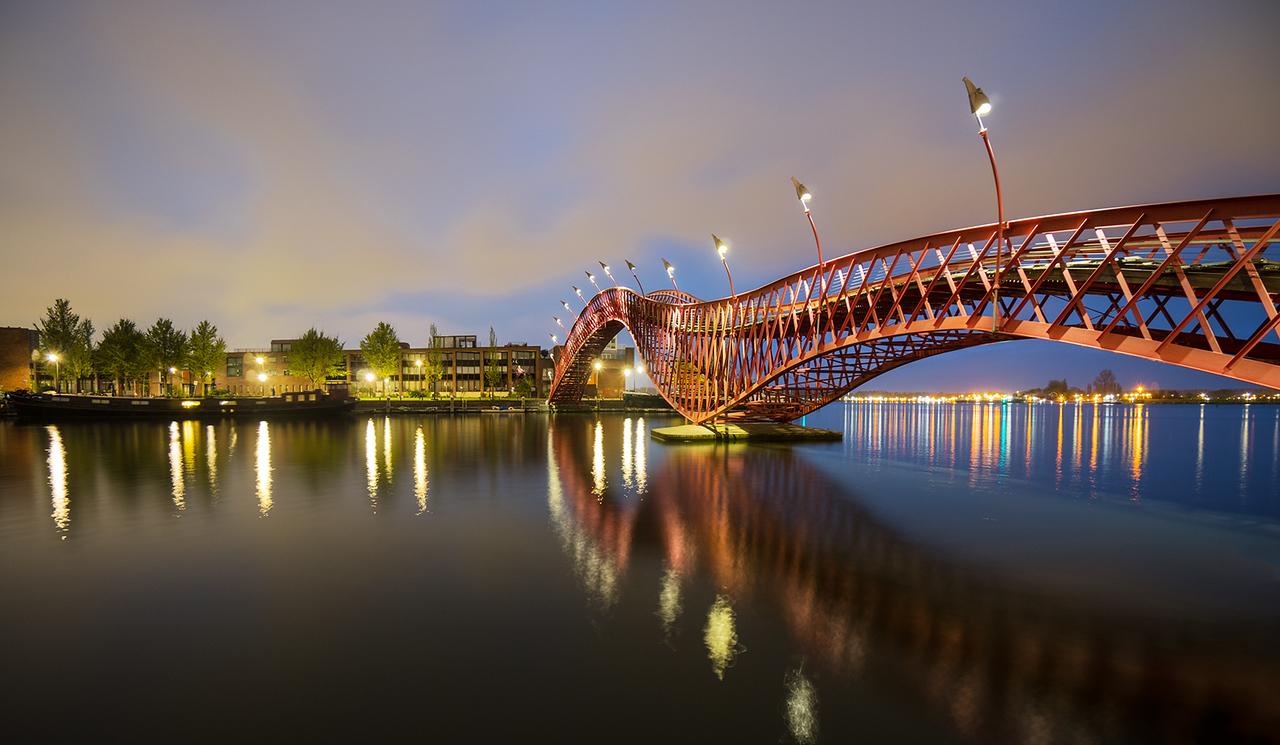 phyton bridge, amsterdam, hdr, long exposure, sunset, sunrise