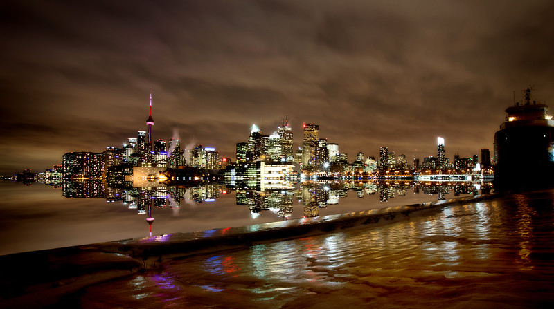 Toronto Polson Pier Winter Night