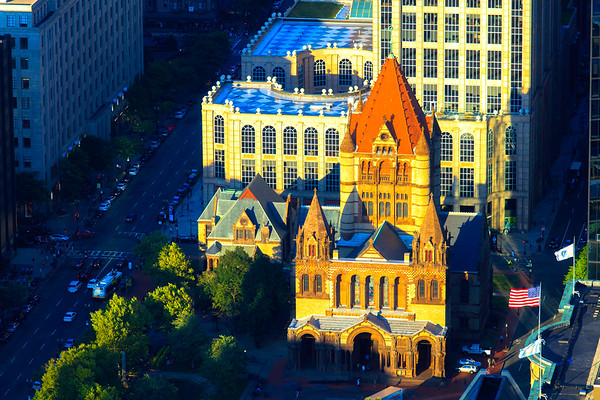 Sunset glow casting on Trinity Church, Boston, USA