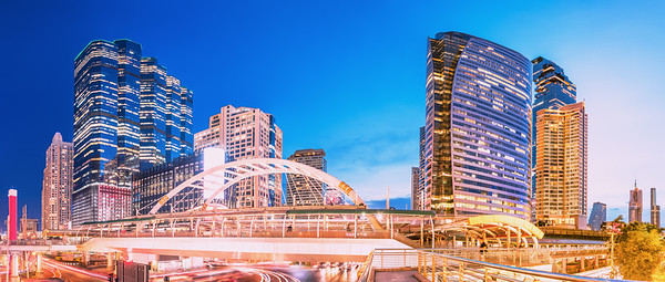 Nightscape of Sathon-Silom business area in Bangkok, Thailand