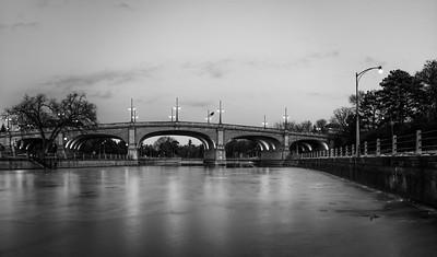 Bank Street Bridge - Black & Winter Reflections