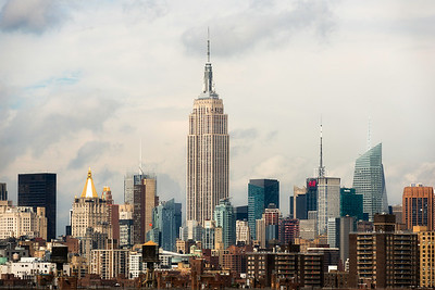 The Empire State Building and island of Manhattan in New York.
