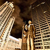 Chicago Downtown City  Night Photography Wrigley Square American Gothic