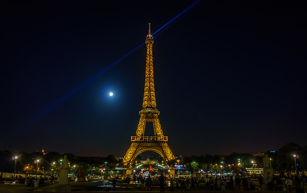 Eiffel Tower with Supermoon