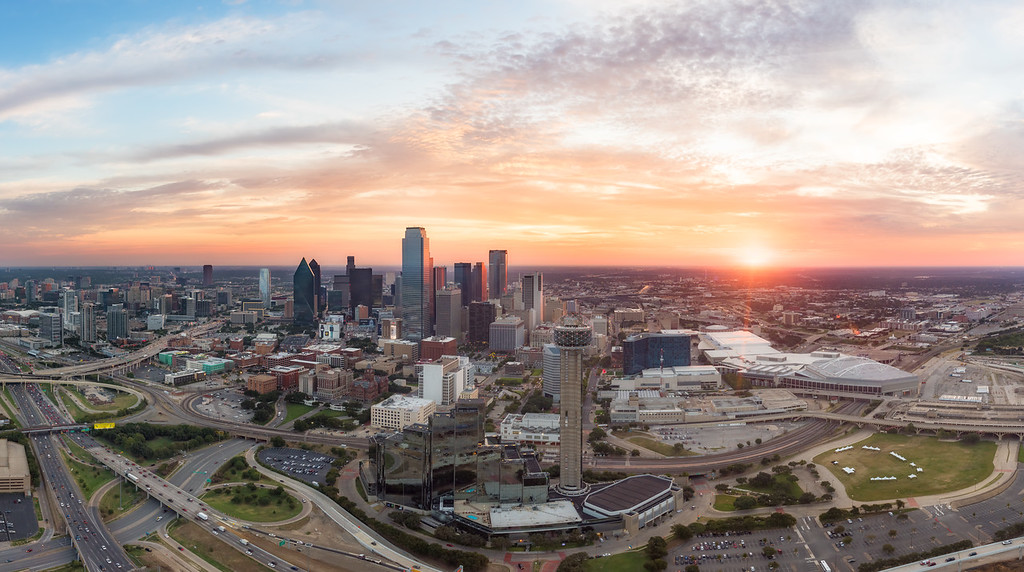 Sunrise over downtown Dallas, Texas on September 24, 2015 as scene from a helicopter.