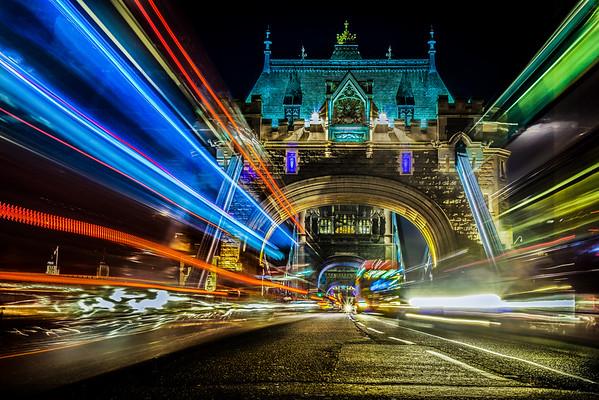 Dramatic Light Trails on Tower Bridge