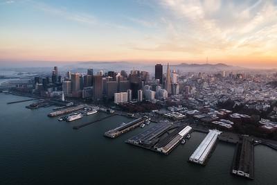 The city of San Francisco, California beneath an amazing sunset.