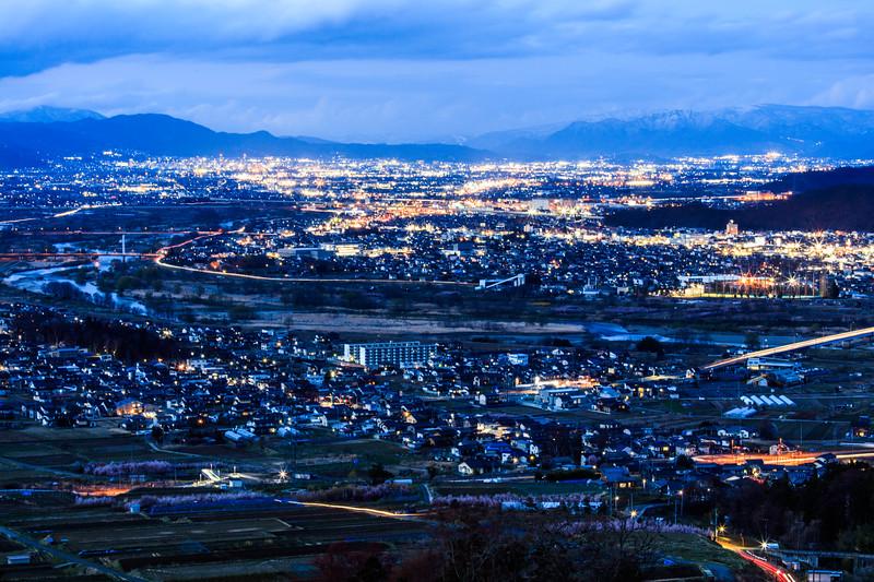 Blue moment, Shinano River basin, Chikuma and Nagano City, Japan