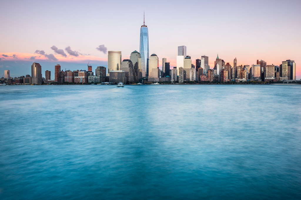 The island of Manhattan as seen from New Jersey at sunset.