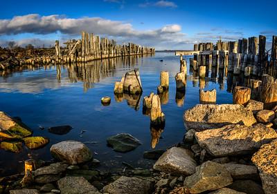 The old Piers at Sunrise, Prescott, Ontario
