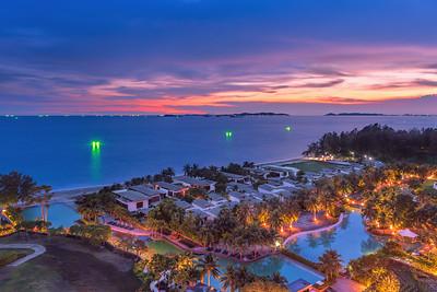 Tropical resort at dusk