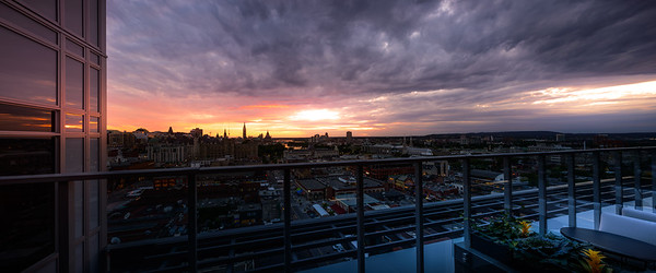 Sunset from the Copper Spirits Lounge, Andaz Boutique Hotel, Ottawa, Ontario