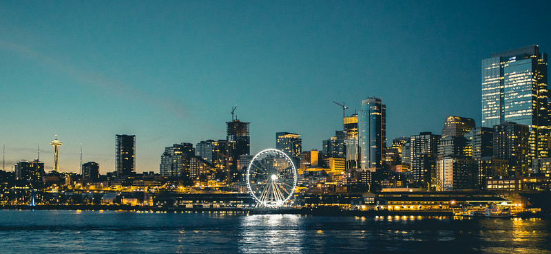 Seattle Downtown with Space Needle in Evening (teal split tone)