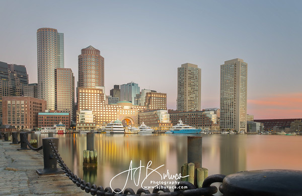 Boston Fan Pier Park Skyline Sunrise