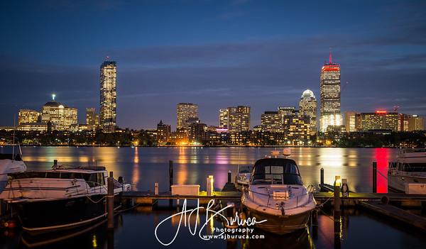 Charles River Boston Skyline Sunset