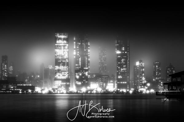 Foggy Hudson Yards New York City