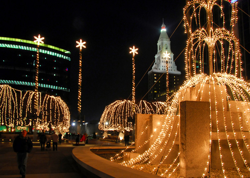 Christmas lights on Constitution Plaza, Hartford