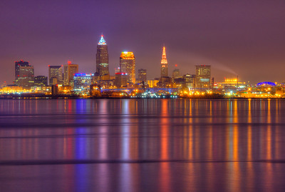 Cleveland glistens at night