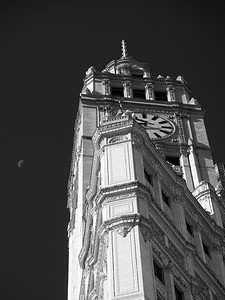 Wrigley Clock and Moon