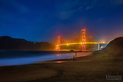 """Night Over the Golden Gate,"" Baker Beach, Golden Gate Bridge, San Francisco, California"