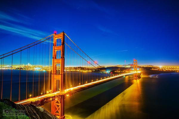 """The Golden Gate and San Francisco at Night"" Battery Spencer, Golden Gate Bridge, Marin Headlands, San Francisco, California"