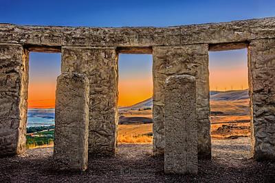 """""""Gates of Heaven,"""" Maryhill Stonehenge Sunset, Washington"""