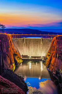 """Dusk's Gift,"" Civil Twilight (Dusk) over Glen Canyon Dam, Page Arizona"