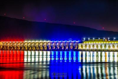 """America's Reflection,"" Night Reflections at John Day Dam, Rufus, Oregon"
