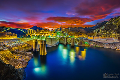 """'Light's On,"""" Sunset over Lake Mead and Hoover Dam, Lake Mead National Recreation Area, Nevada - Arizona"""