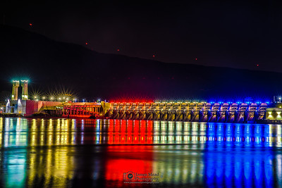 """""""Red, White and Blue,"""" John Day Dam at Night, Rufus, Oregon"""